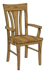 Metro arm chair, Amish made, various wood and finishes,