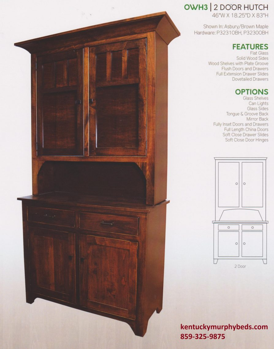 Old World Mission 2 door hutch, Amish made, variety of wood and finishes