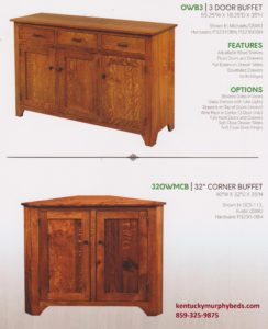 Old World Mission 3 door buffet and corner buffet, Amish made, variety of wood, finish and styles