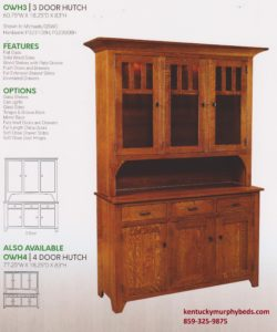 Old World Mission 3 door hutch, Amish made, variety of wood and finishes