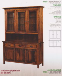 Raleigh 3 door hutch, Amish made, variety of wood and finishes