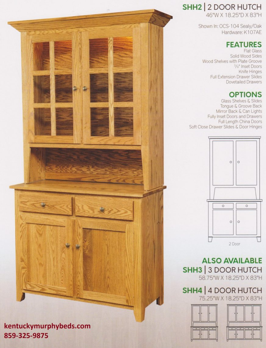 Shaker 2 door hutch, Amish made, design options