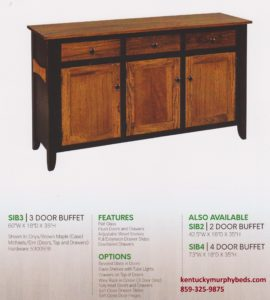 Sierra 3 door buffet, Amish made, wood and finish options