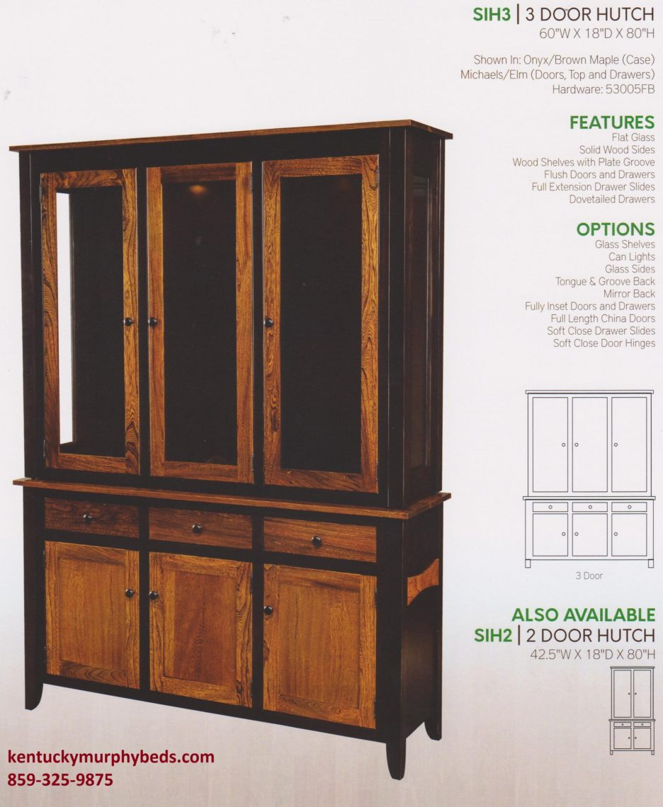 Sierra 3 door hutch, Amish made, wood and finish options