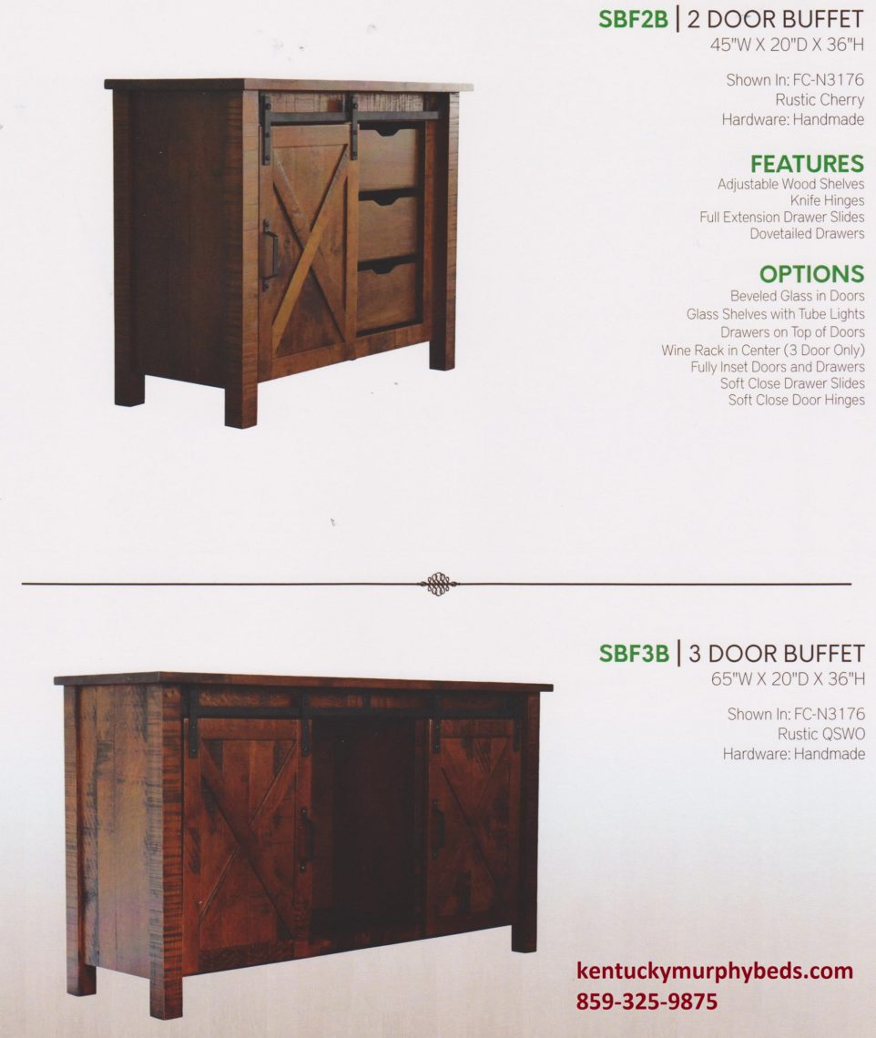 sliding Barn Floor 2 & 3 door buffets, amish made, variety of wood and finishes
