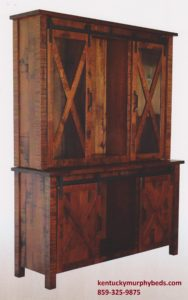 Sliding Barn Floor 3 door hutch Amish made, various wood and finishes, Murphy Beds of Central KY
