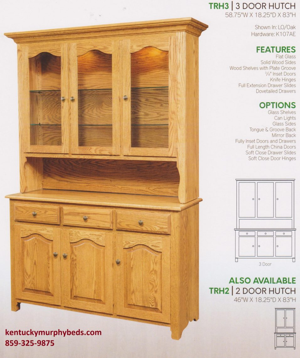 Traditional 3 door hutch, Amish made, custom wood and finishes