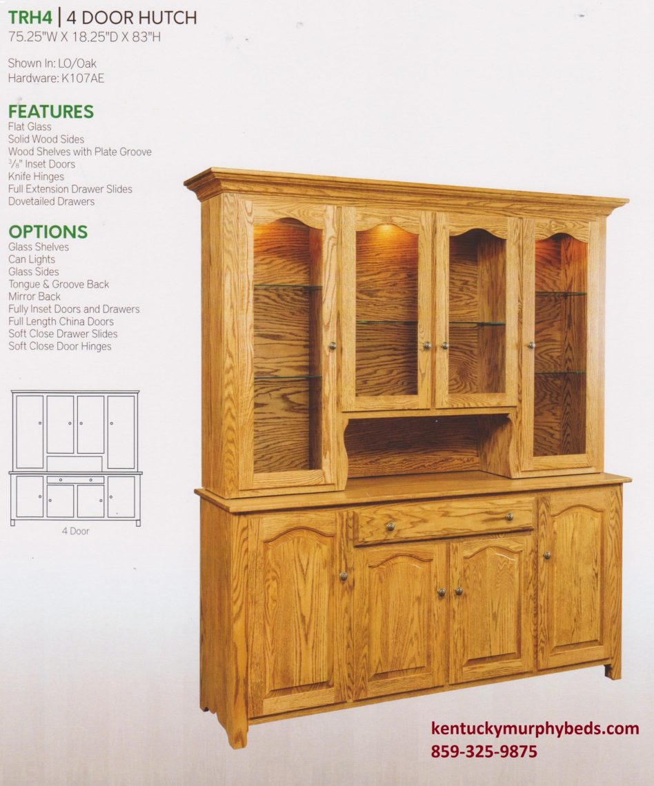 Traditional 4 door hutch, Amish made