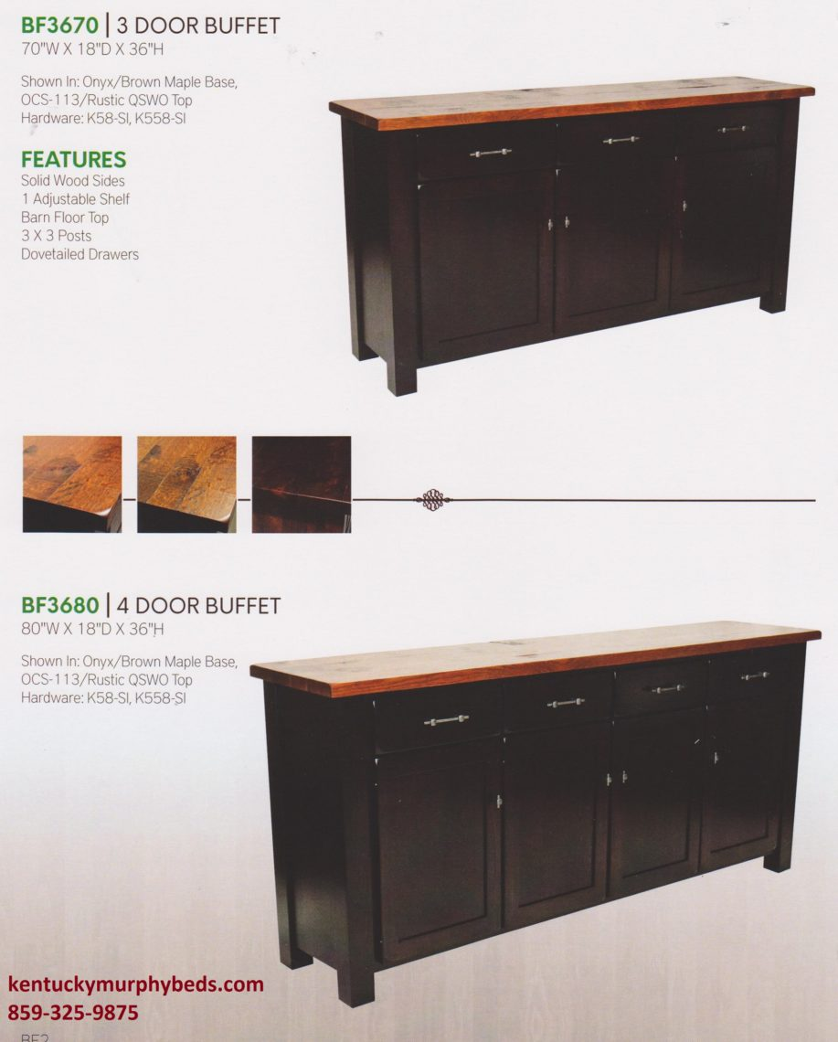 Barn floor buffet 2, amish made, select 3 or 4 door options, variety of wood and finishes