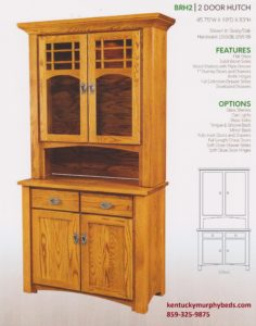 brunswick 2 door hutch, Amish made, custom wood and finish