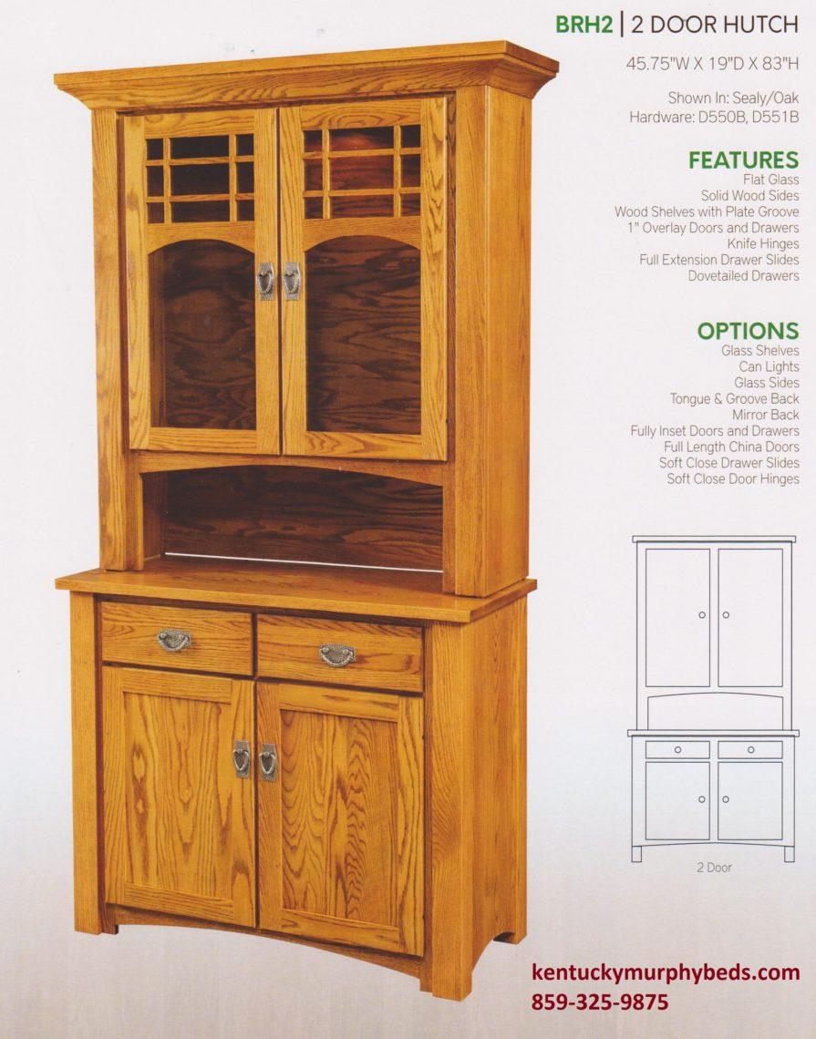 brunswick 2 door hutch, Amish made, custom wood and finish
