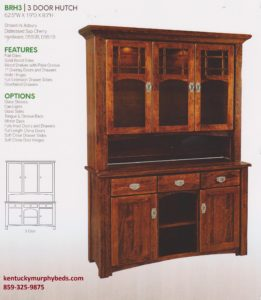 brunswick 3 door hutch, Amish made, variety of wood and finishes