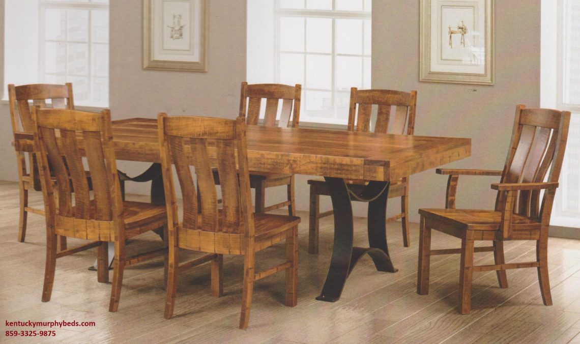 Saw-Marked Collection, Galley Table and Chairs, Amish made