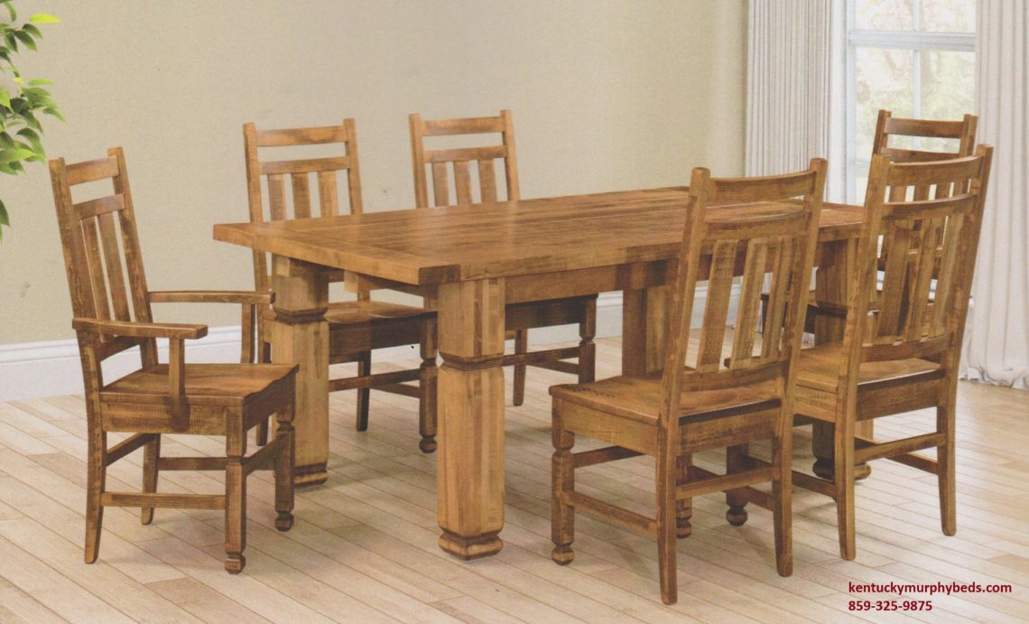 Saw-Marked Collection, Montreal Estate Table and Chairs, Amish made