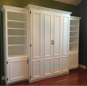 hite-painted queen-size-Murphy-bed-flat panel surface trimmedl-doors-two-bookcases